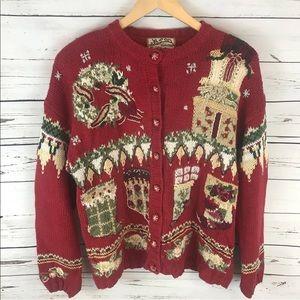 Christmas sweater size Medium stockings wreath